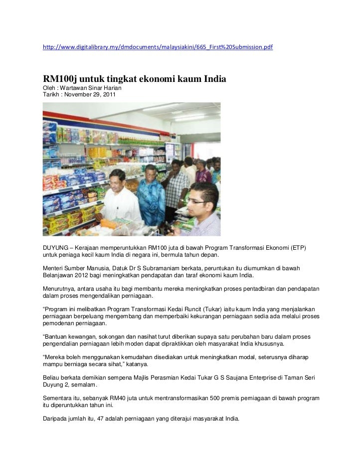 http://www.digitalibrary.my/dmdocuments/malaysiakini/665_First%20Submission.pdfRM100j untuk tingkat ekonomi kaum IndiaOleh...