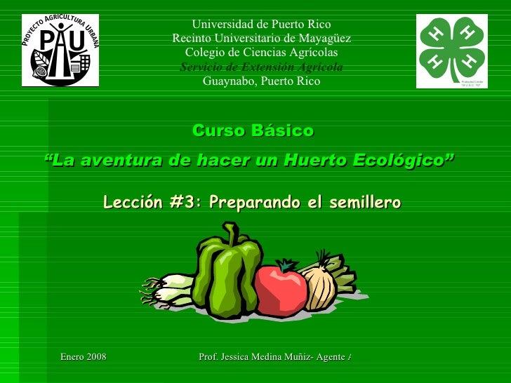 """Curso Básico """"La aventura de hacer un Huerto Ecológico""""   Lección #3: Preparando el semillero Universidad de Puerto Rico R..."""