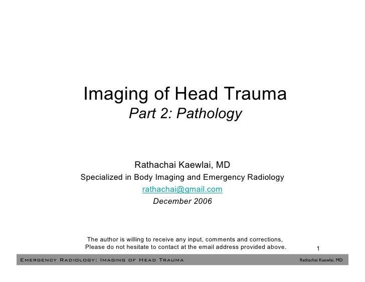 Head Trauma Part 2