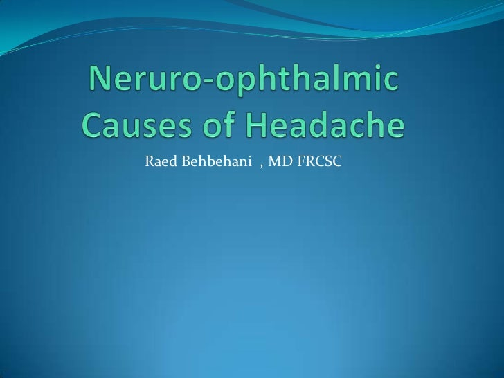 Headache: Neuroophthalmic Aspects for Med Students