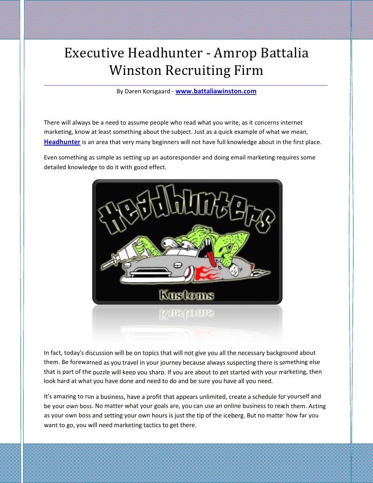 Executive Headhunter - Amrop Battalia              Winston Recruiting Firm________________________________________________...