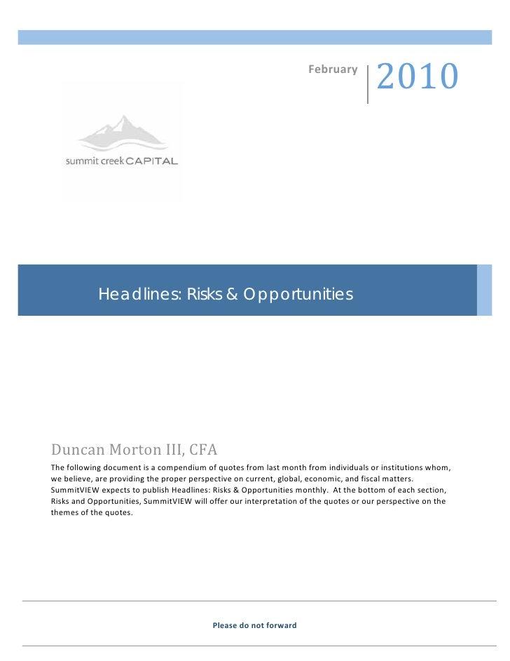 Headlines: Risks & Opportunities