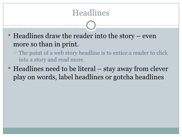 Headlines, SEO & Links