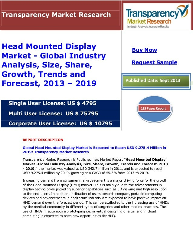 REPORT DESCRIPTION Global Head Mounted Display Market is Expected to Reach USD 9,275.4 Million in 2019: Transparency Marke...