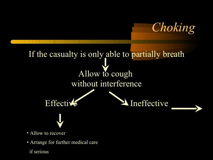 Choking <ul><li>If the casualty is only able to partially breath </li></ul><ul><li>Allow to cough  </li></ul><ul><li>witho...