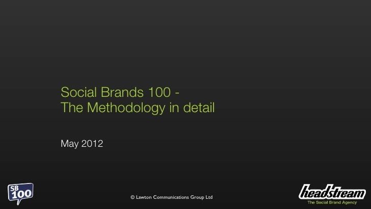 Social Brands 100 2012 Methodology explained