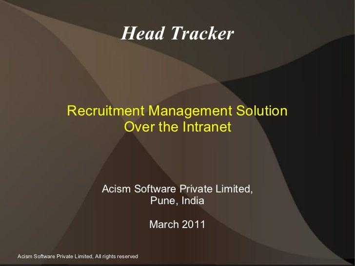 Recruitment Management Using HeadTracker