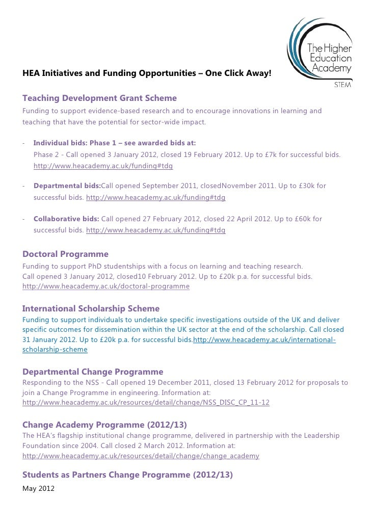 HEA Initiatives and Funding Opportunities – One Click Away!Teaching Development Grant SchemeFunding to support evidence-ba...