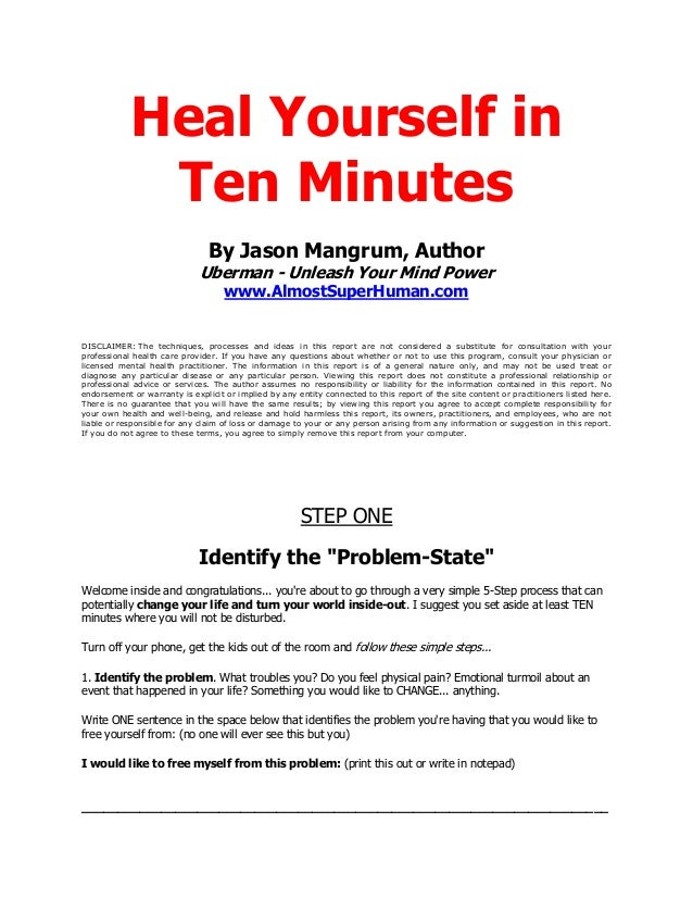 Heal Yourself in             Ten Minutes                                By Jason Mangrum, Author                          ...