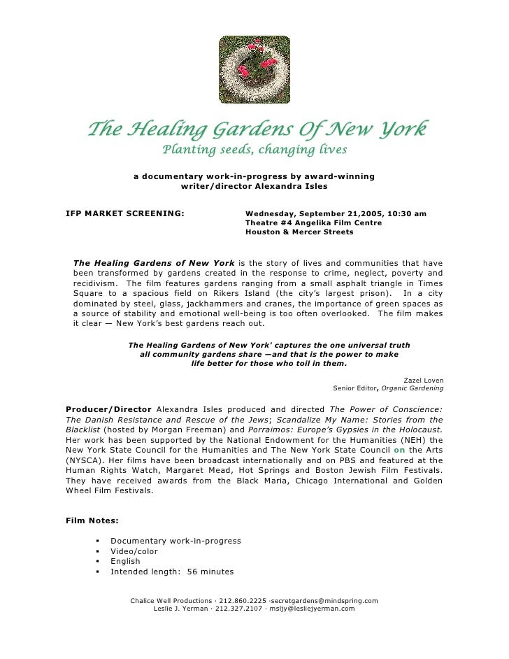 The Healing Gardens Of New York                      Planting seeds, changing lives               a documentary work-in-pr...
