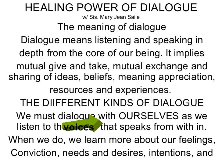 HEALING POWER OF DIALOGUE w/ Sis. Mary Jean Saile The meaning of dialogue Dialogue means listening and speaking in depth f...