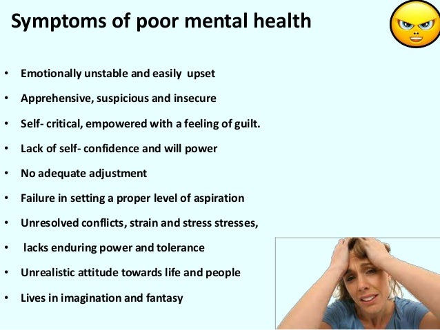 mental health signs and symptoms