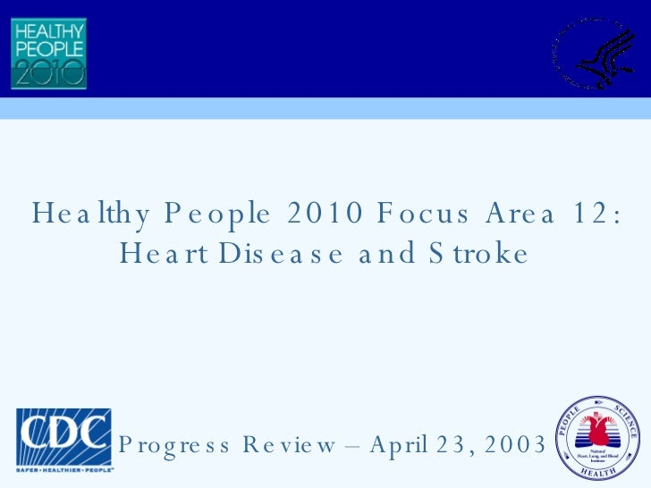 Healthy People 2010 Focus Area 12: Heart Disease and Stroke Progress Review – April 23, 2003