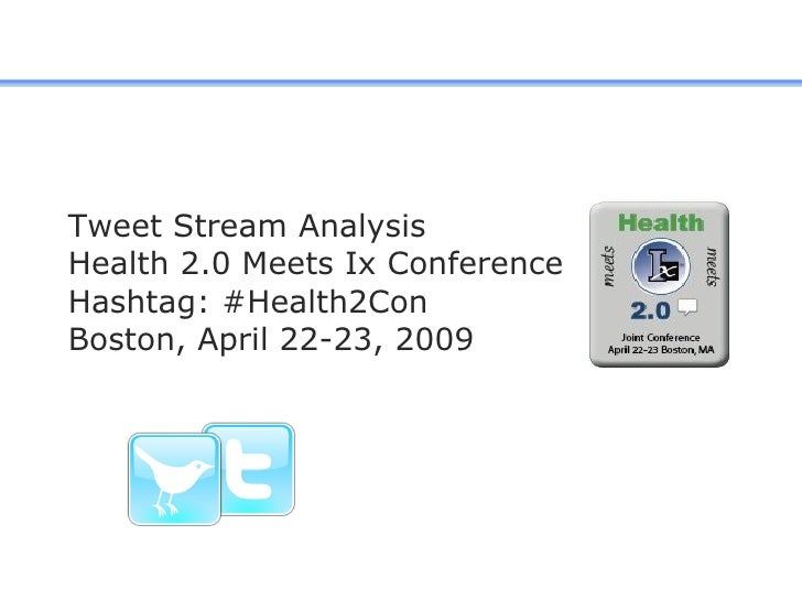 Tweet Stream Analysis Health 2.0 Meets Ix Conference Hashtag: #Health2Con  Boston, April 22-23, 2009