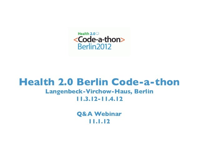 Health 2.0 Berlin Code-a-Thon - Sponsored By Aetna International