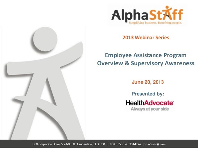 Health Advocate EAP Overview and Supervisory Awareness