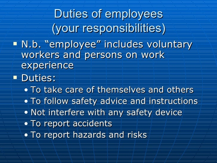 Employers health and safety responsibilities