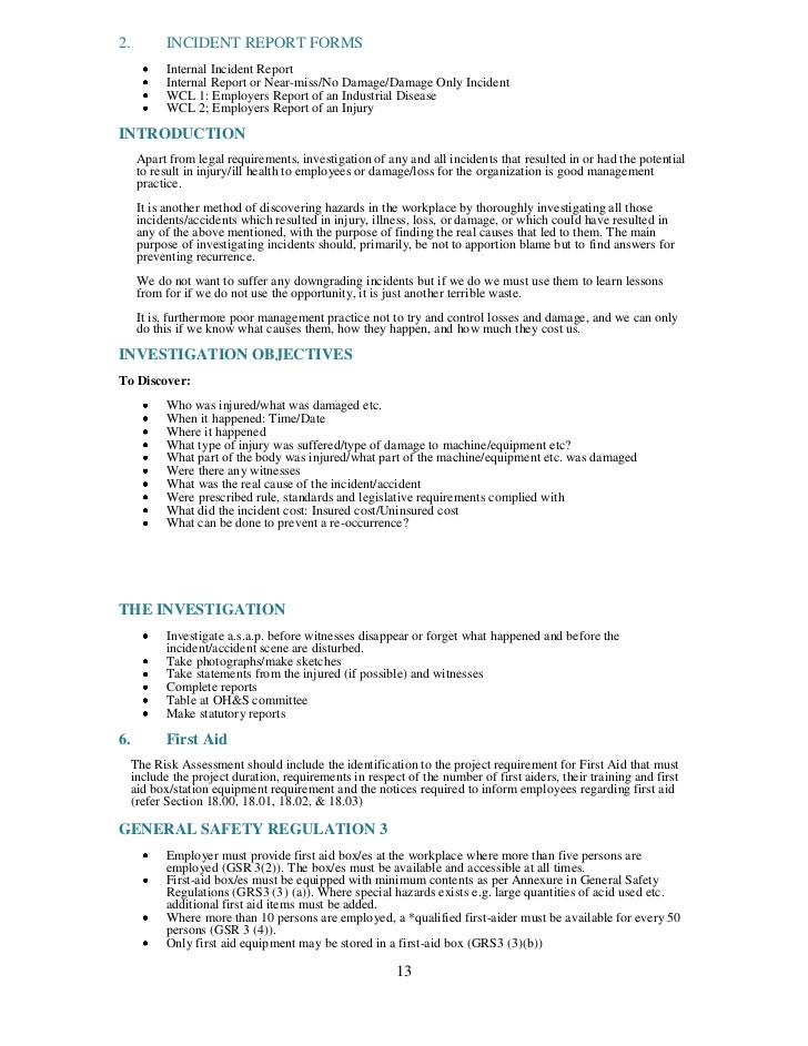 Health and safety plan generic for Monthly health and safety report template