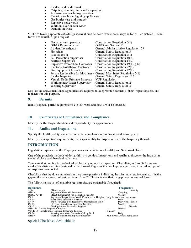 Health and safety plan template pronofoot35fo Gallery