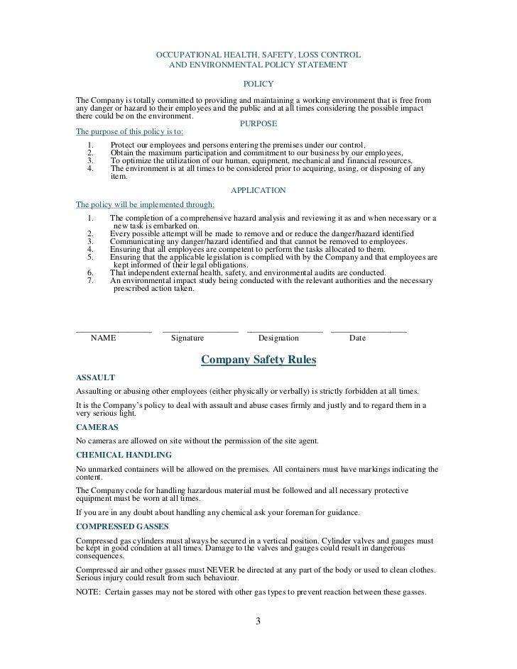 Health and safety plan generic for Health and safety statement of intent template