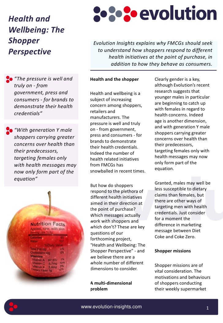 Health and wellbeing   the shopper perspective