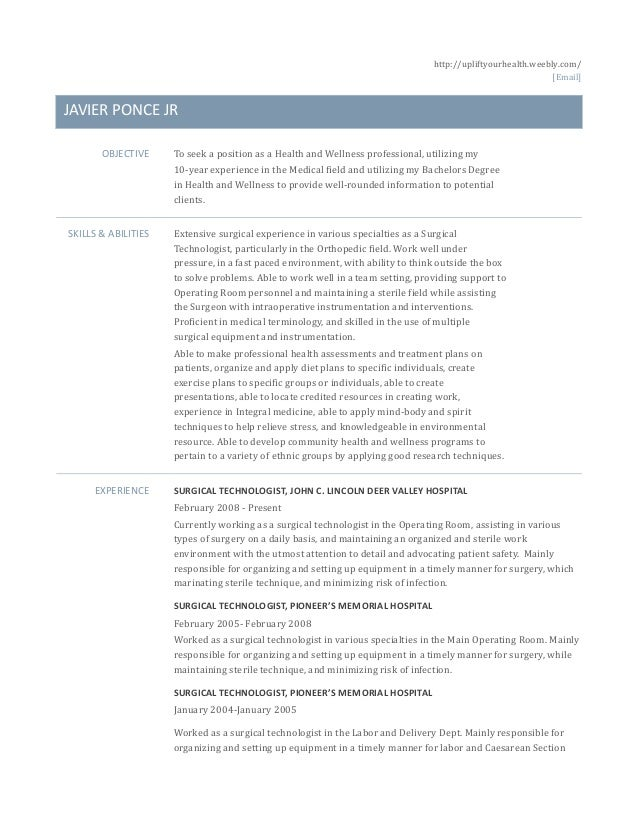 health and wellness resume
