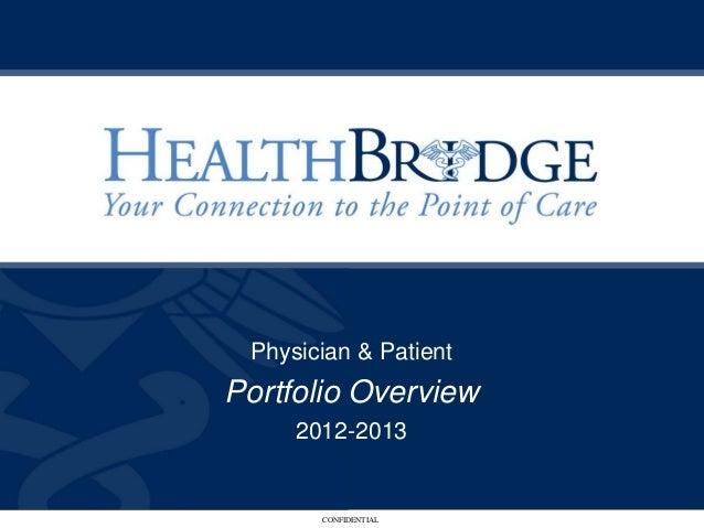 Physician & PatientPortfolio Overview     2012-2013       CONFIDENTIAL