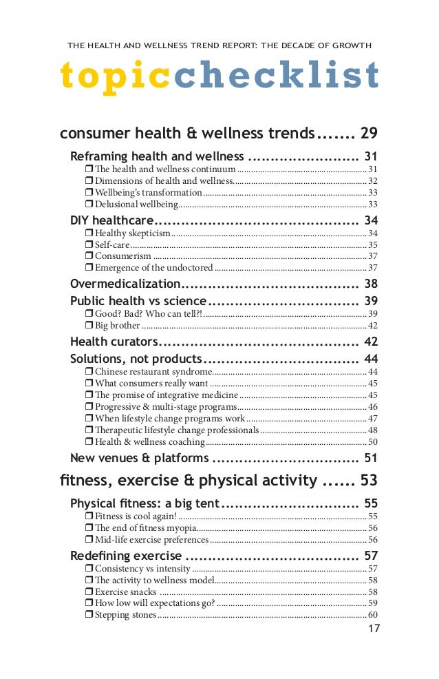 Healthcare fitness-nutrition-trends-checklist
