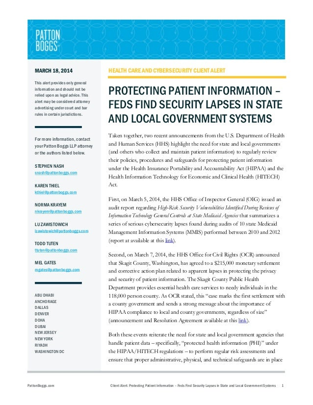 Protecting Patient Information - Feds Find Security Lapses in State and Local Government Systems