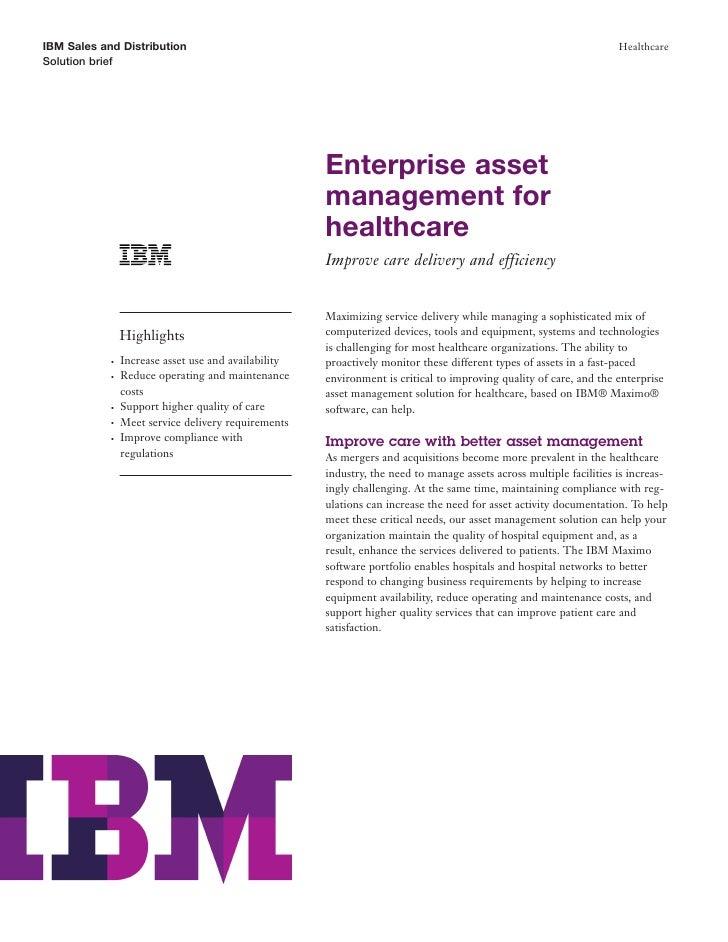 Enterprise Asset Management for Improved  Efficiency and Patient Care