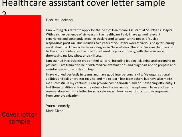 Sample Healthcare Cover Letter Health Care Assistant Cover Letter