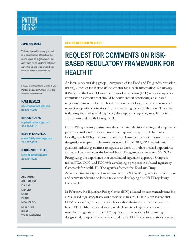 Request for Comments on Risk-Based Regulatory Framework for Health IT