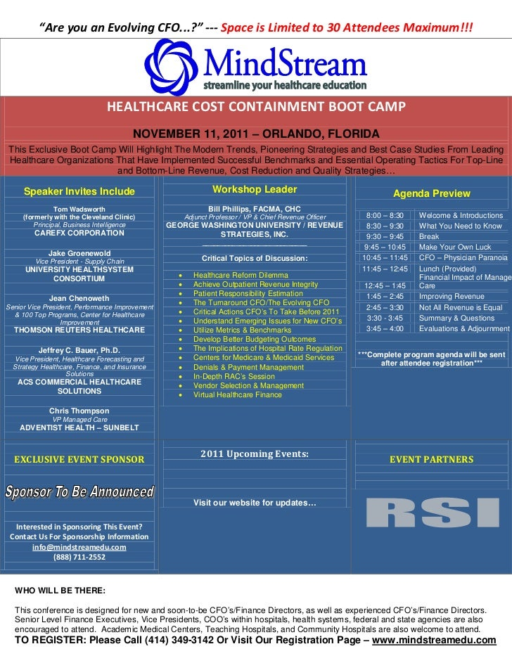 Healthcare Cost Containment Workshop   Intensive Course
