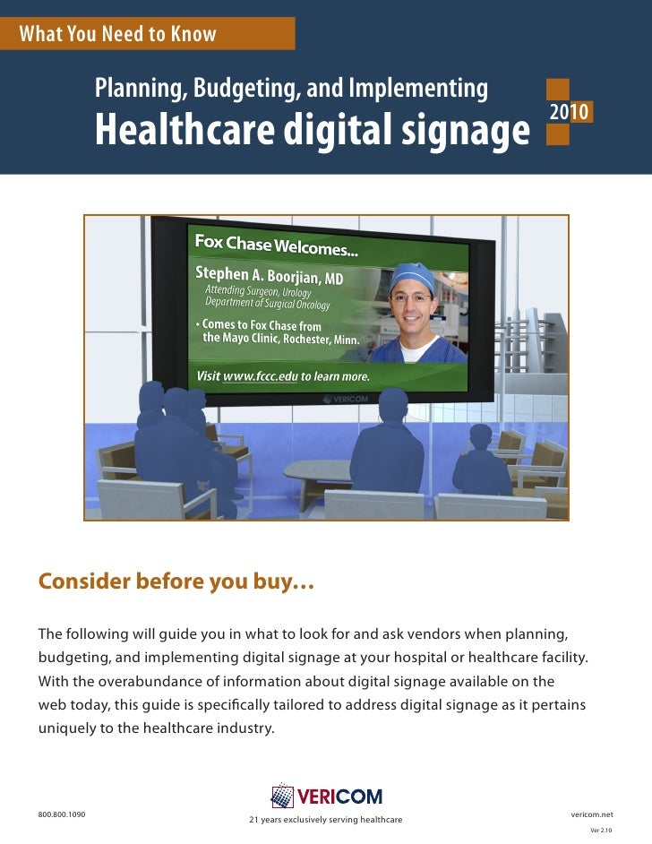 Healthcare Digital Signage 2010   What You Need To Know