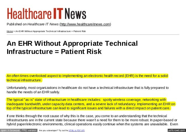 Published on Healthcare IT News (http://www.healthcareitnews.com)    Home > An EHR Without Appropriate Tec hnic al Infrast...