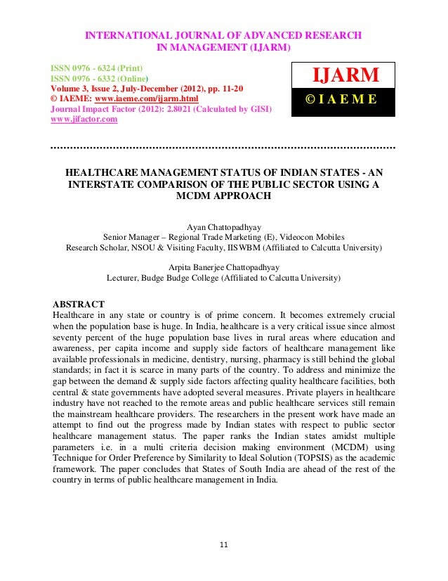 Healthcare management status of indian states   aninterstate comparison of the public sector using a mcdm approach