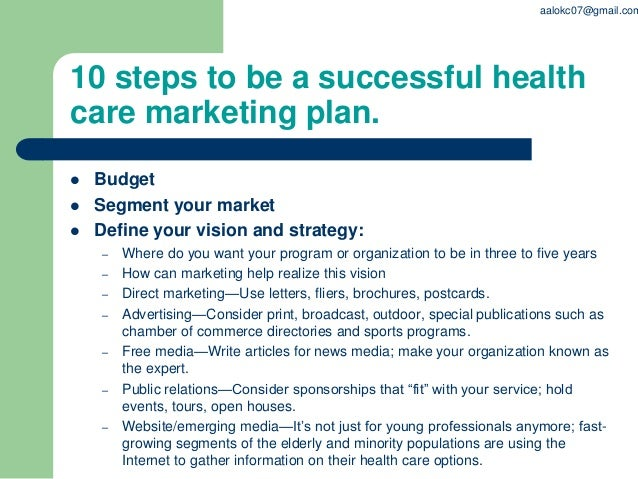 health care marketing plan outline Outline for an international business plan  health care, including type of  marketing your product in the country market.