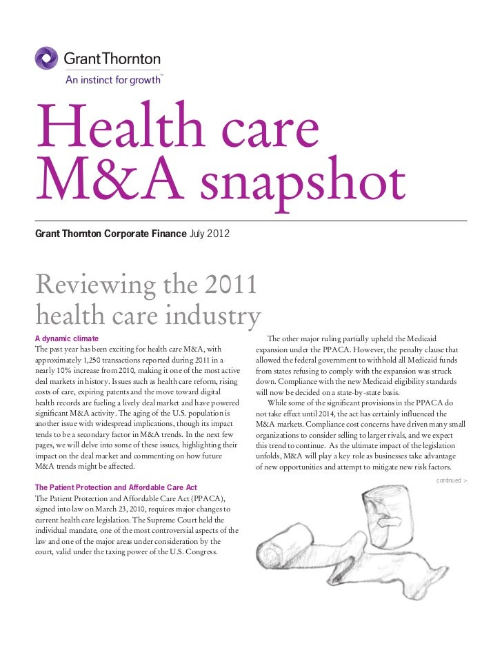 Health careM&A snapshotGrant Thornton Corporate Finance July 2012Reviewing the 2011health care industryA dynamic climate  ...