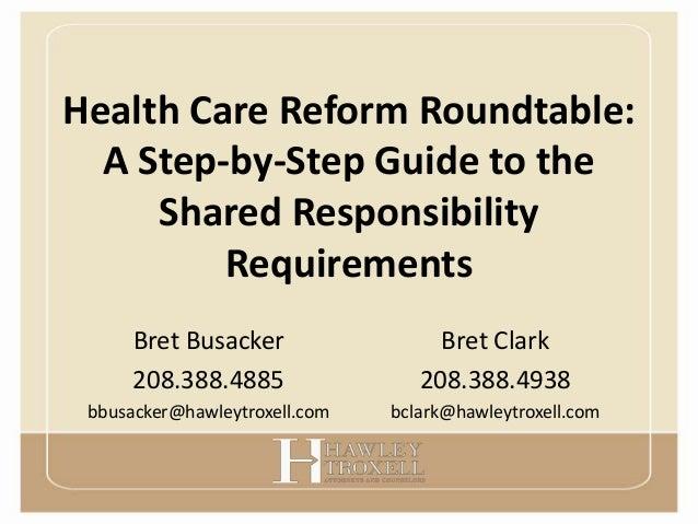 Health Care Reform Shared Responsibility Presentation