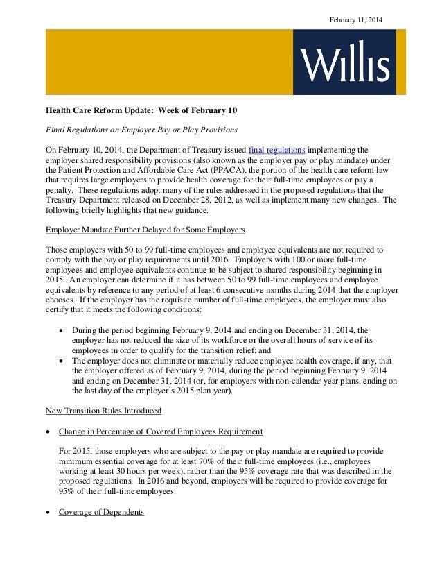 Health Care Reform Developments Week of February 10 2014(1)