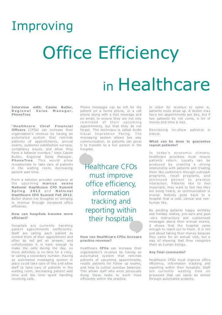 Improving                    Office Efficiency                                                        in        Healthcare...