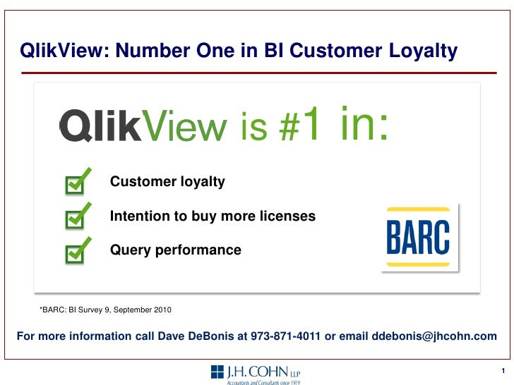 QlikView: Number One in BI Customer Loyalty                                        is #1          in:                     ...