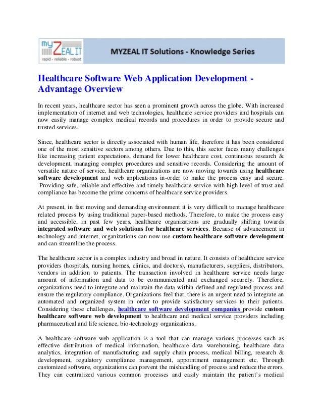 Healthcare software web application development  advantage overview
