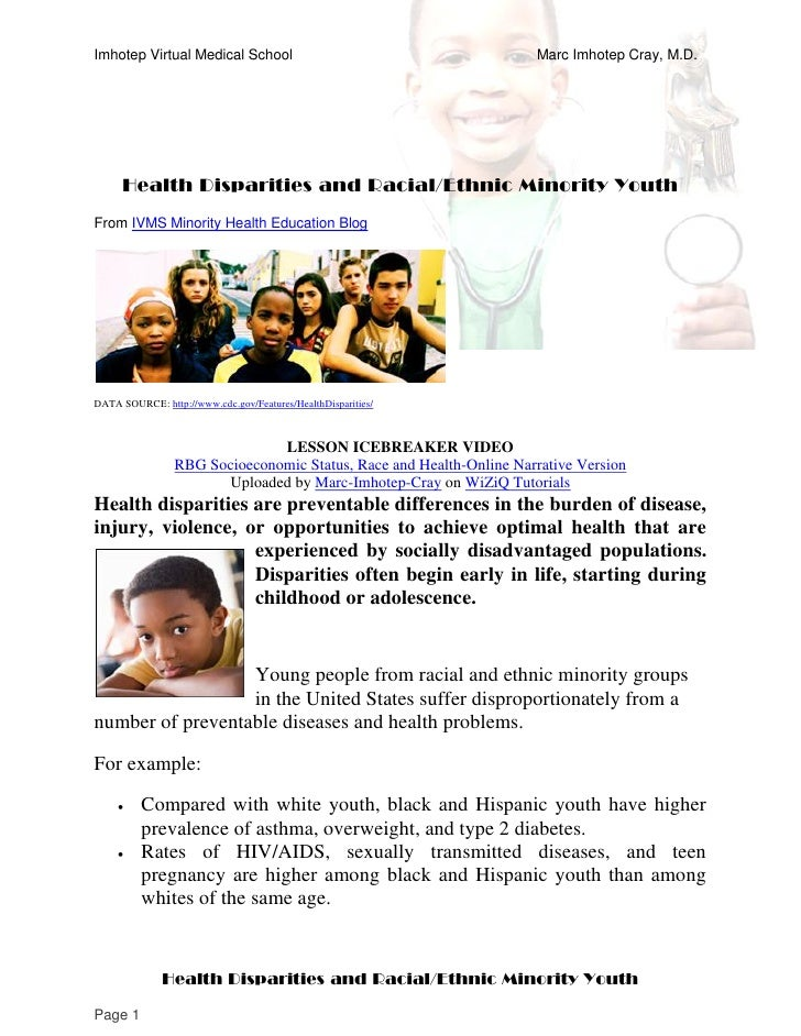 Health Disparities and Racial-Ethnic Minority Youth