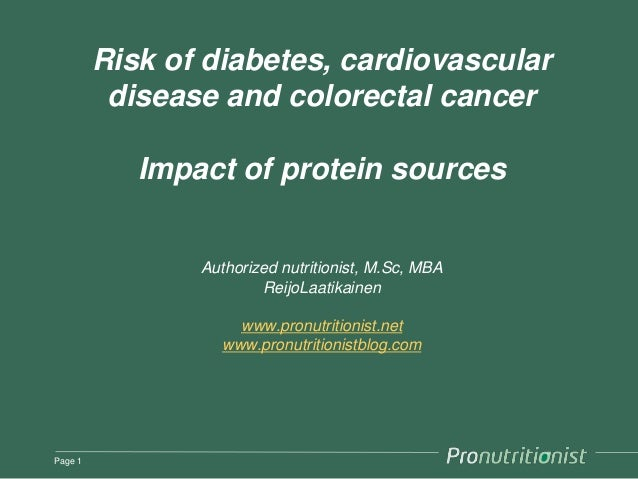 Risk of diabetes, cardiovascular          disease and colorectal cancer            Impact of protein sources              ...