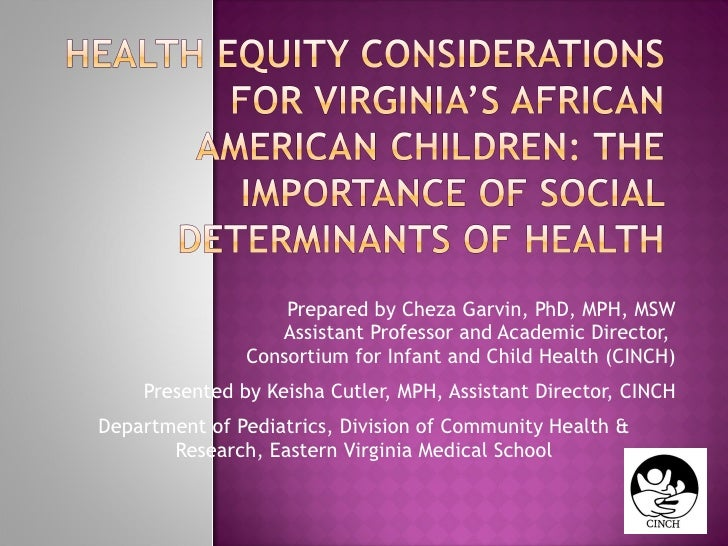 Health Equity Considerations For Virginia's African American Children