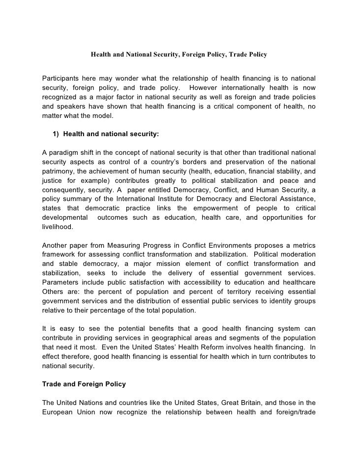 Health financing and national security nanagas