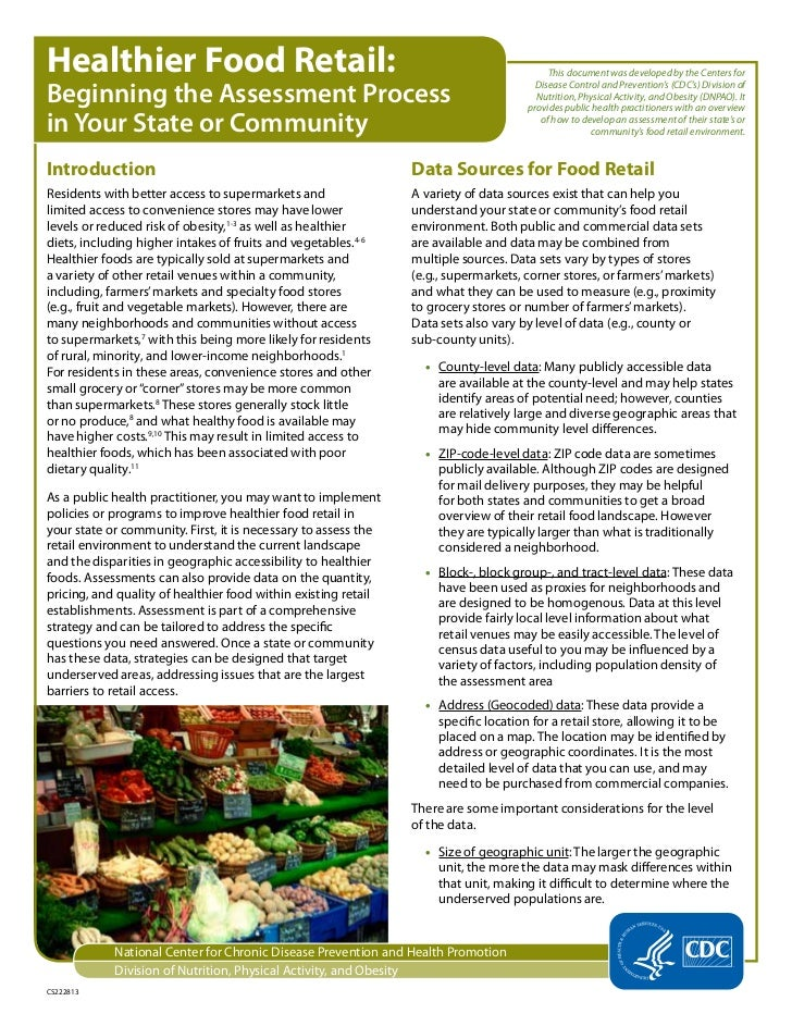 Federal Support of State-level Food Policy Councils and Networks: Healthier Food Retail Assessment Beginning the Assessment Process