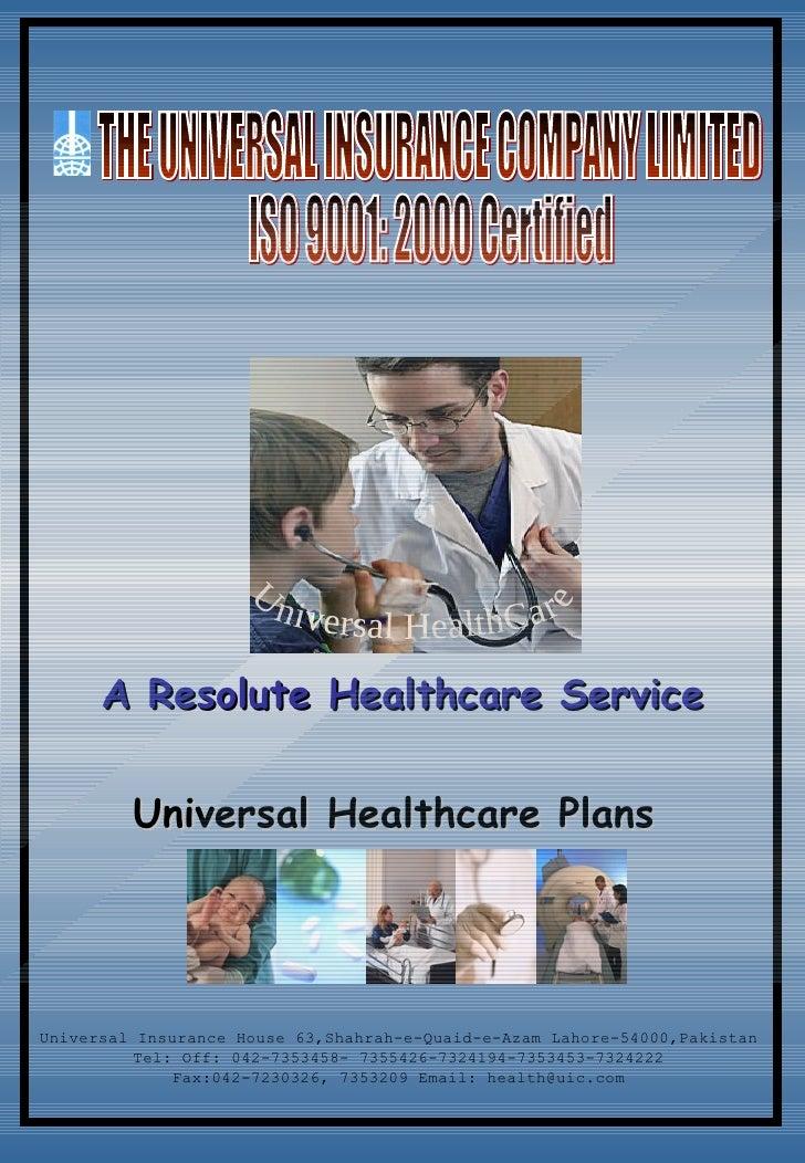 Health Insurance Brochure-The Universal Insurance Company Ltd.