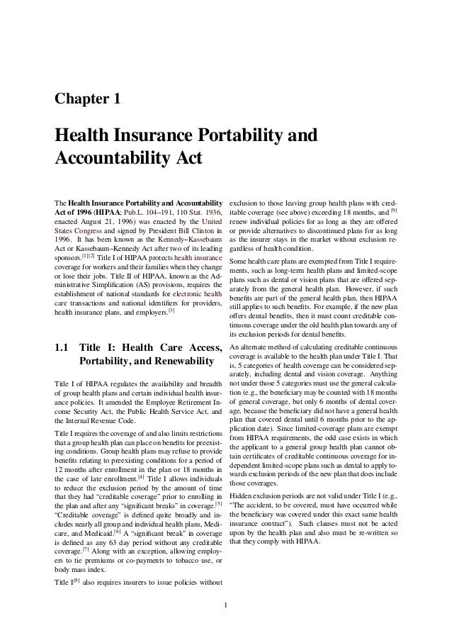 What are the components of the Health Insurance Portability and Accountability Act (HIPAA) of 1996?